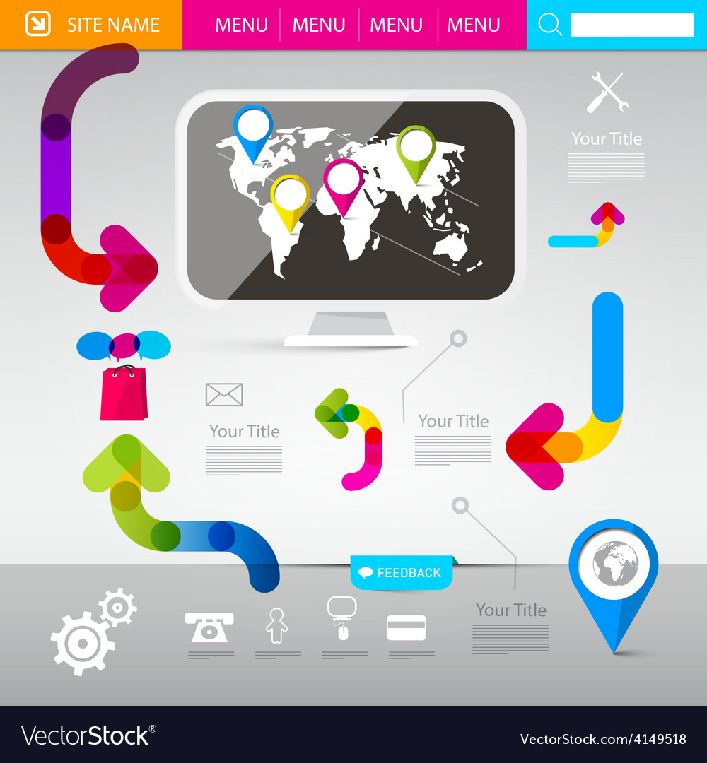 Web design template - technology infographics with vector | Price: 1 Credit (USD $1)