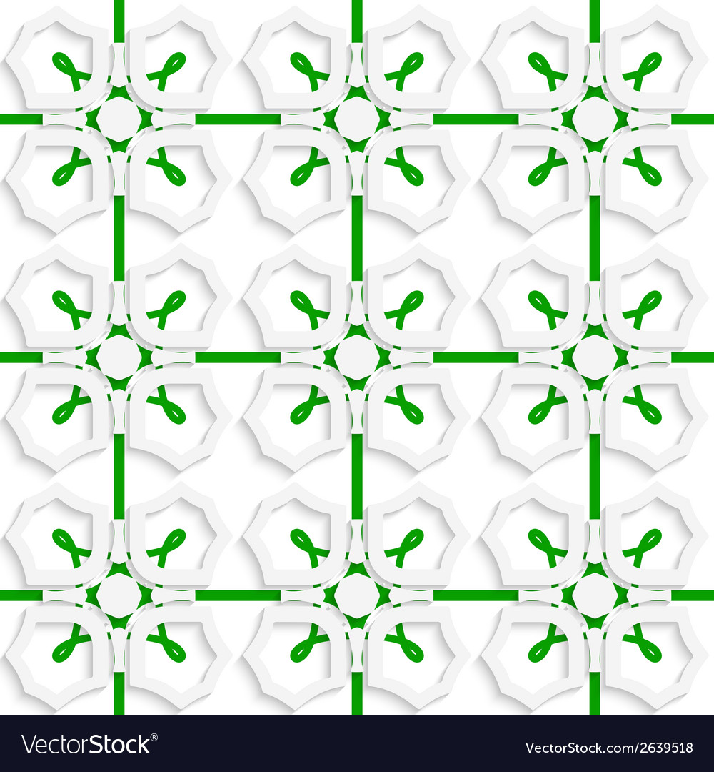 White geometric ornament with green net seamless vector | Price: 1 Credit (USD $1)