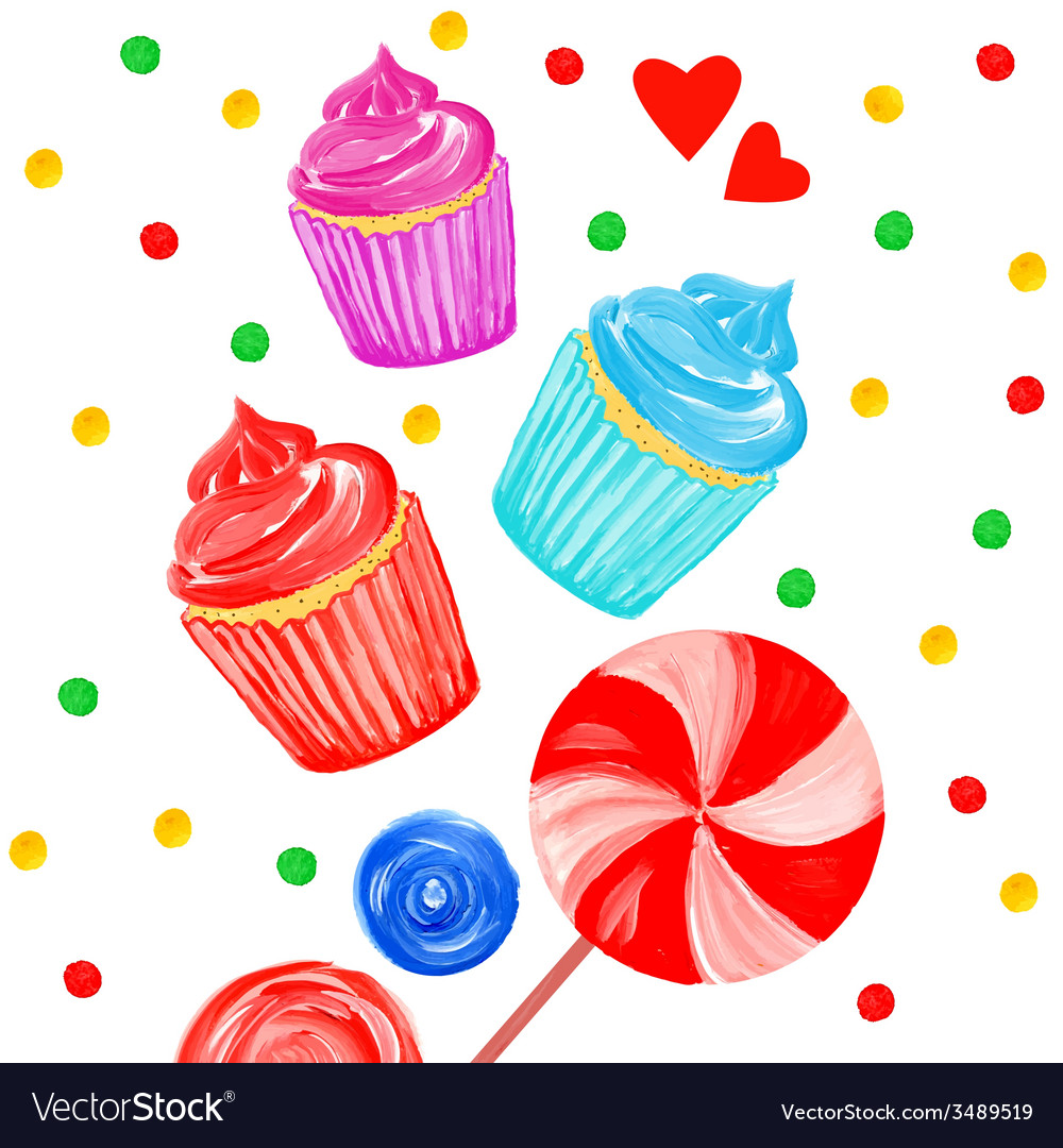 Acrylic background with cupcakes vector | Price: 1 Credit (USD $1)