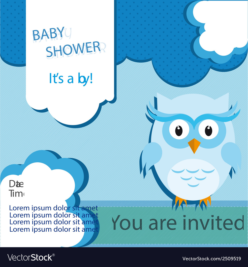Baby shower card design with owl vector | Price: 1 Credit (USD $1)