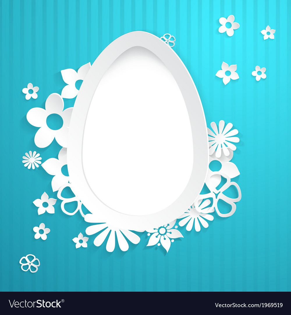 Background with egg and paper flowers on blue vector   Price: 1 Credit (USD $1)