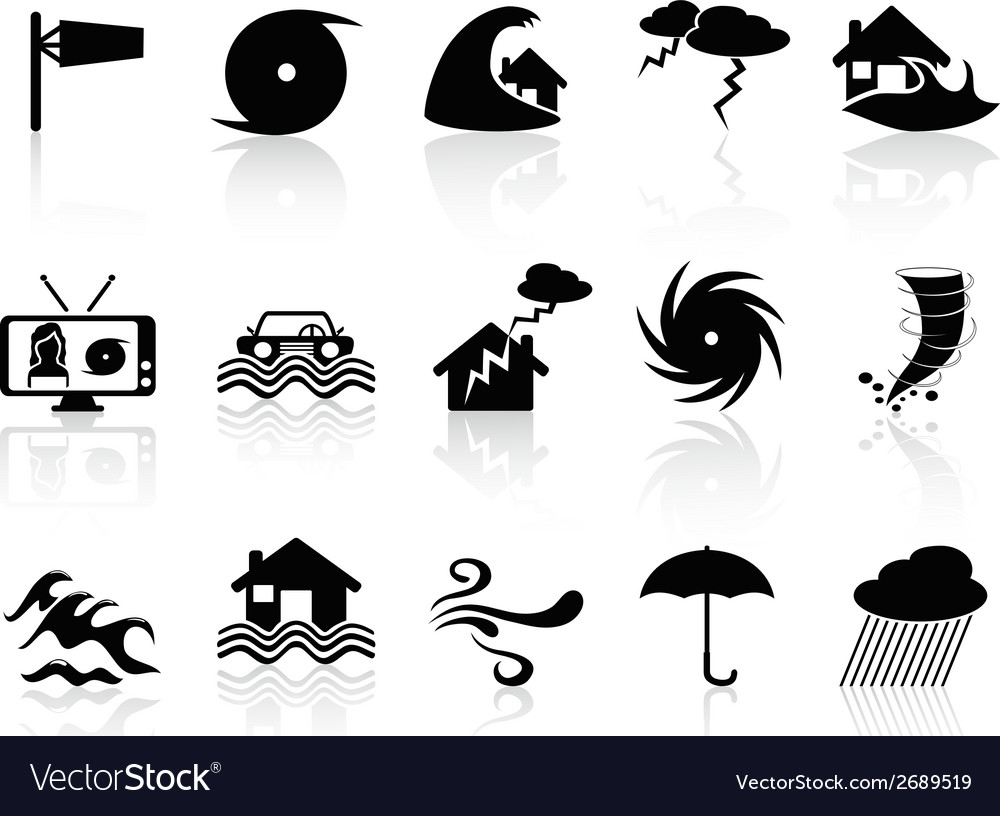 Black storm icons set vector | Price: 1 Credit (USD $1)