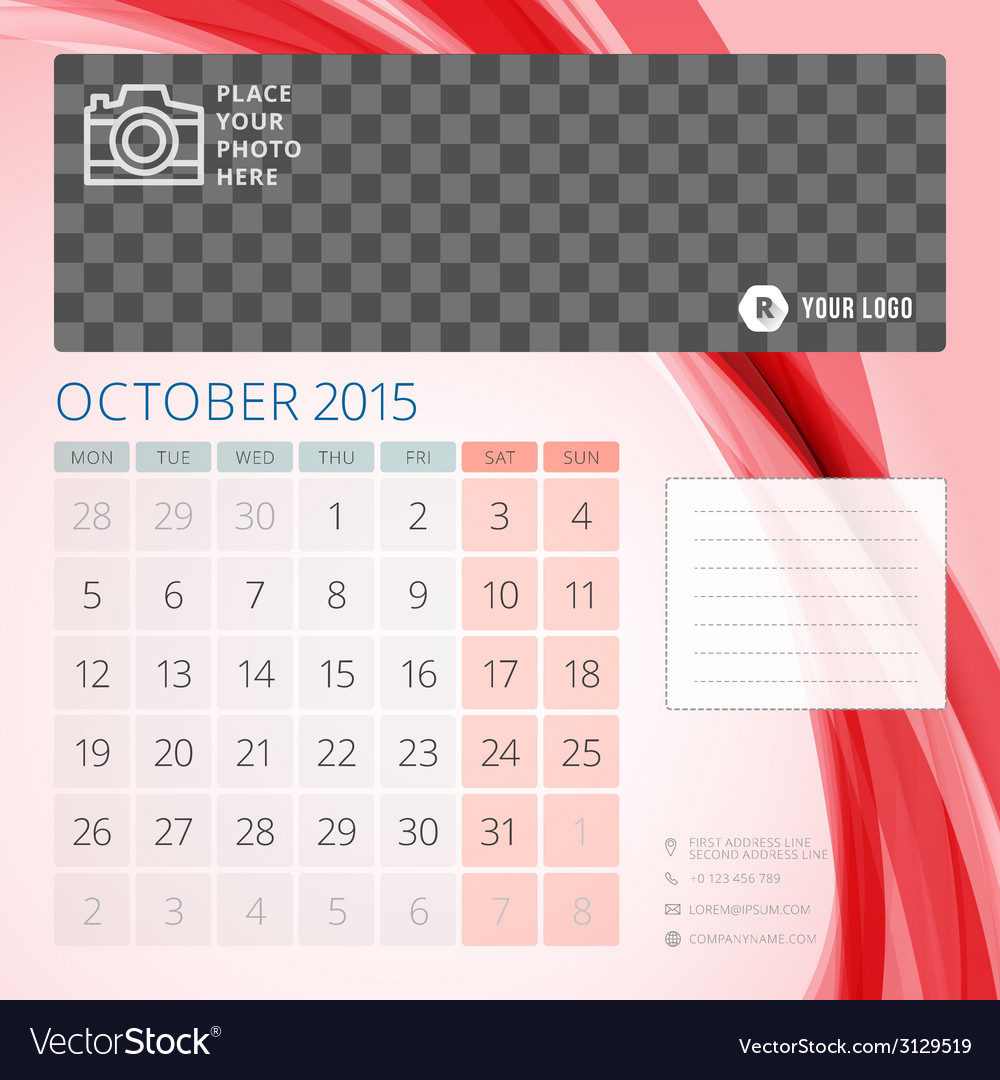 Calendar 2015 october template with place for vector | Price: 1 Credit (USD $1)