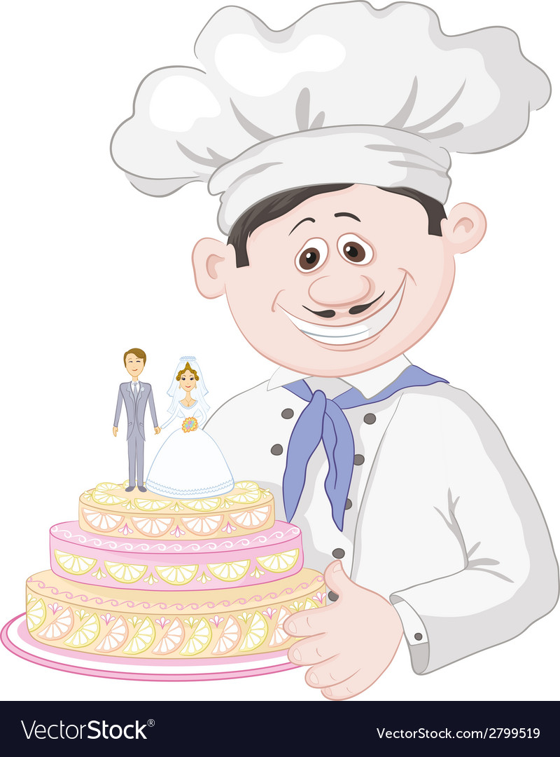 Cartoon cook with holiday wedding cake vector | Price: 1 Credit (USD $1)