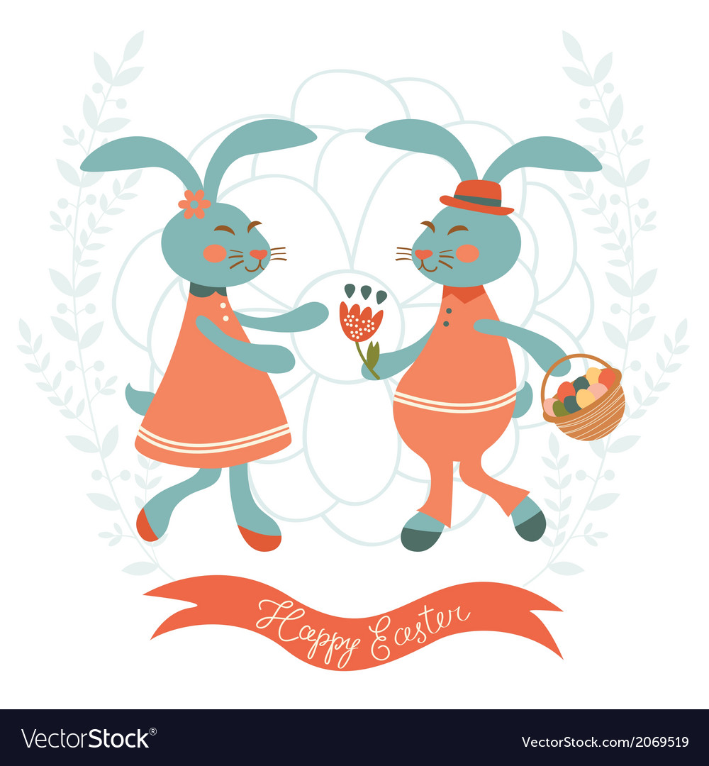 Cute rabbits couple vector | Price: 1 Credit (USD $1)