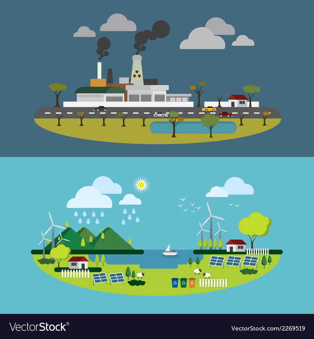 Ecology of city technology and environment concept vector | Price: 1 Credit (USD $1)