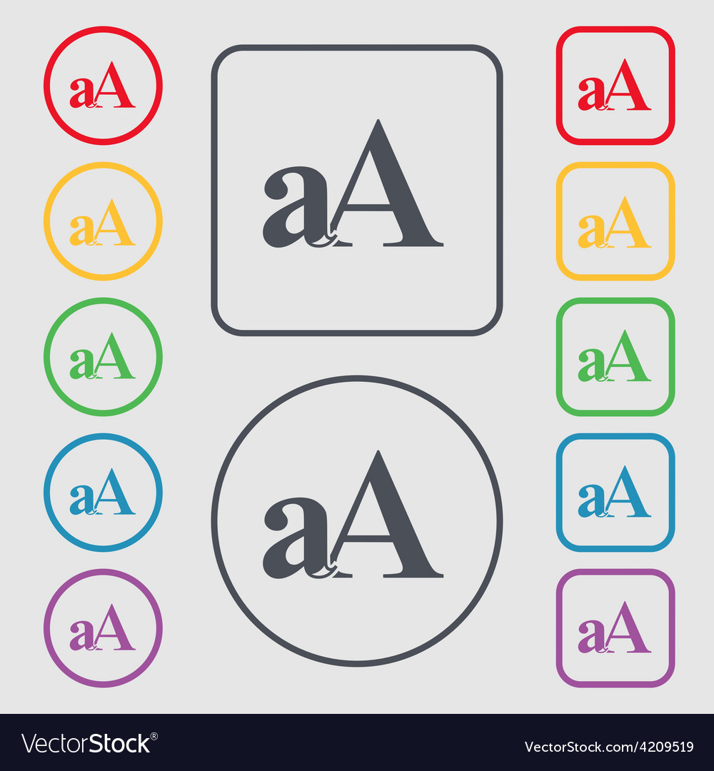 Enlarge font aa icon sign symbol on the round and vector | Price: 1 Credit (USD $1)
