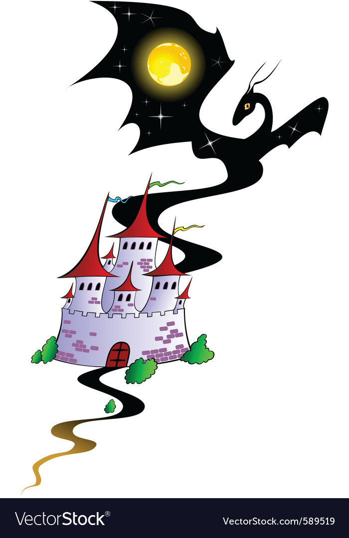 Fairy tale castle with a dragon vector | Price: 1 Credit (USD $1)