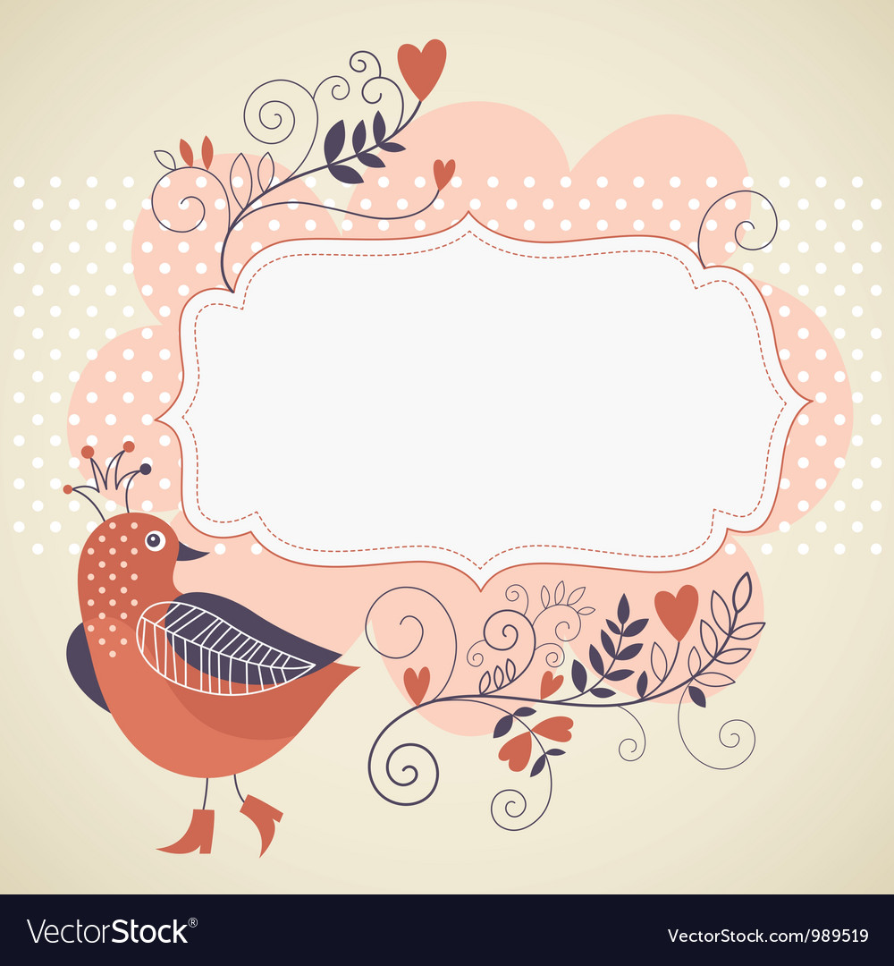 Frame for your text with bird and flowers vector | Price: 1 Credit (USD $1)