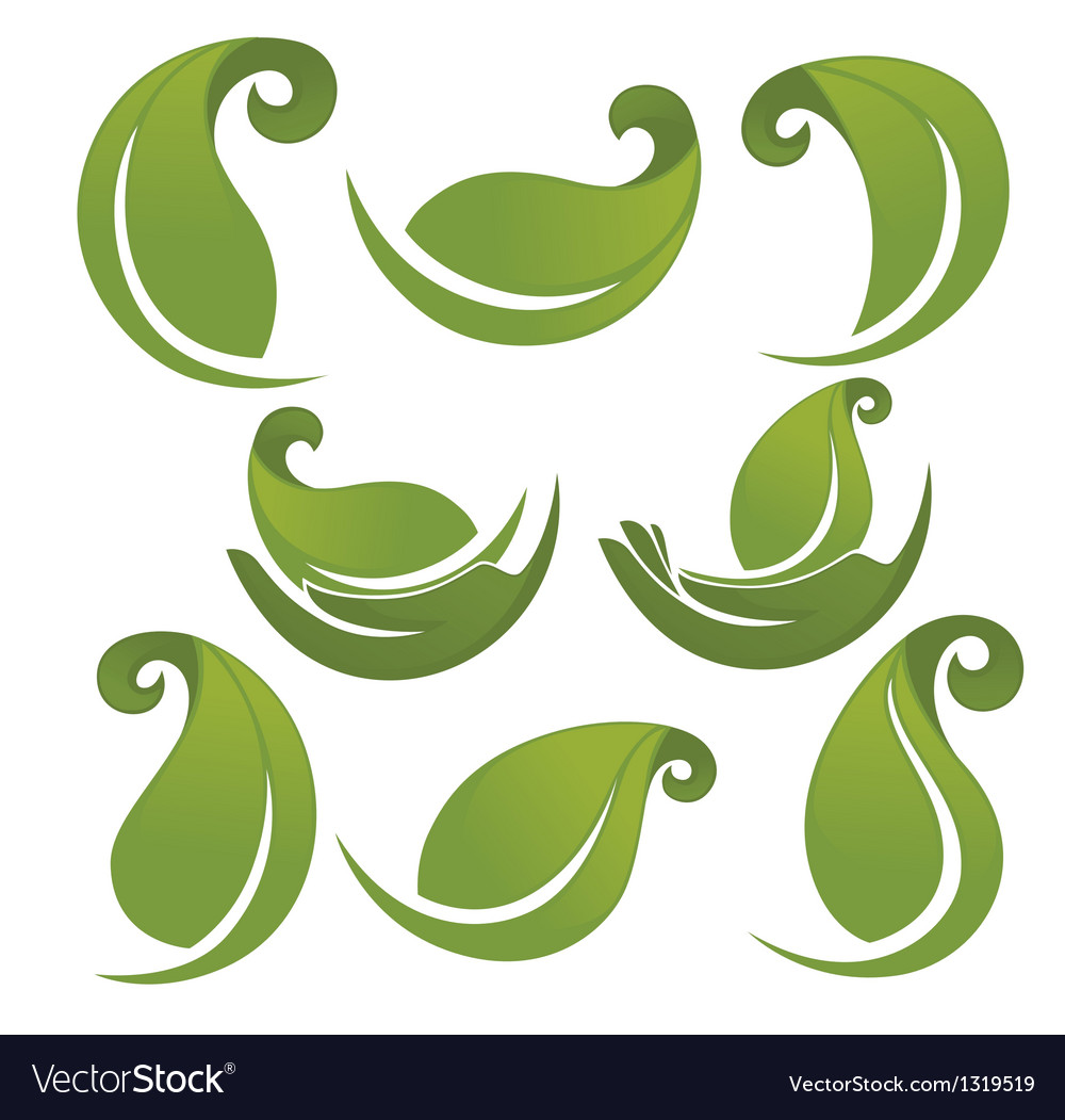 Green leaves signs and symbols collection vector | Price: 1 Credit (USD $1)