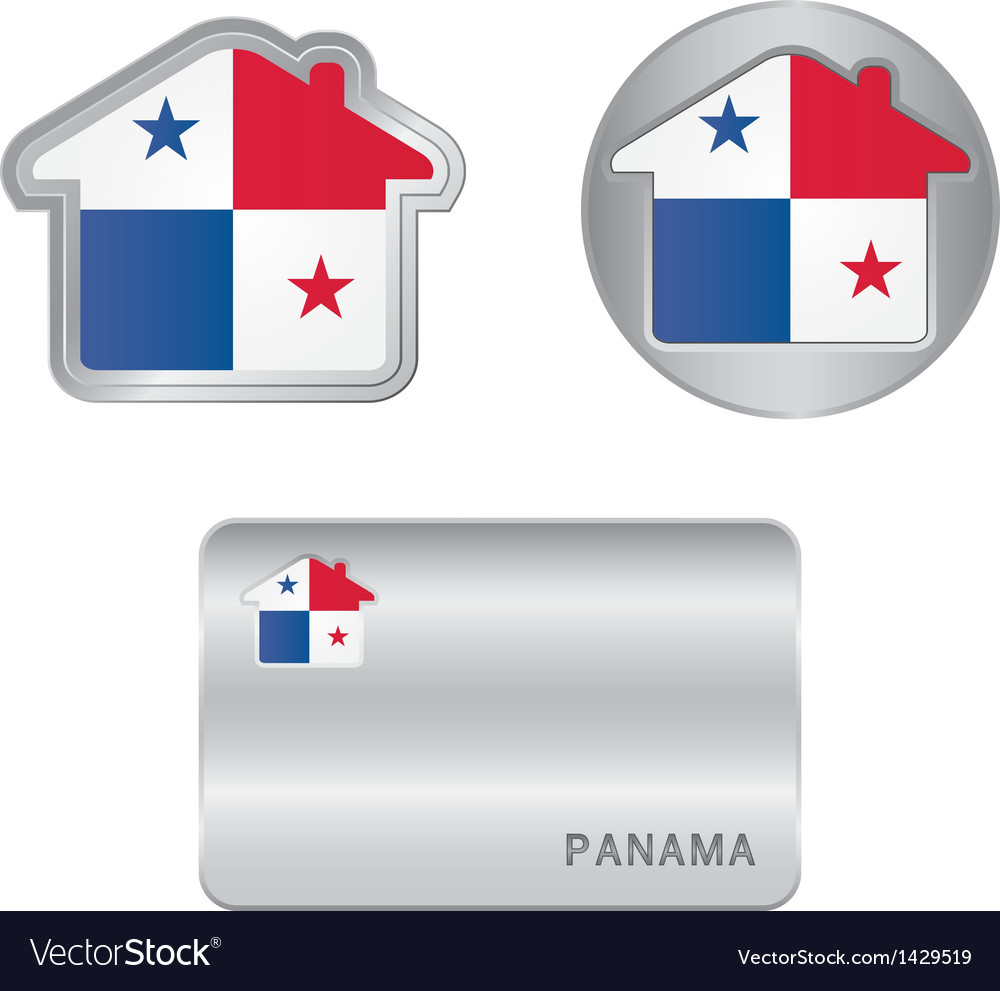 Home icon on the panama flag vector | Price: 1 Credit (USD $1)