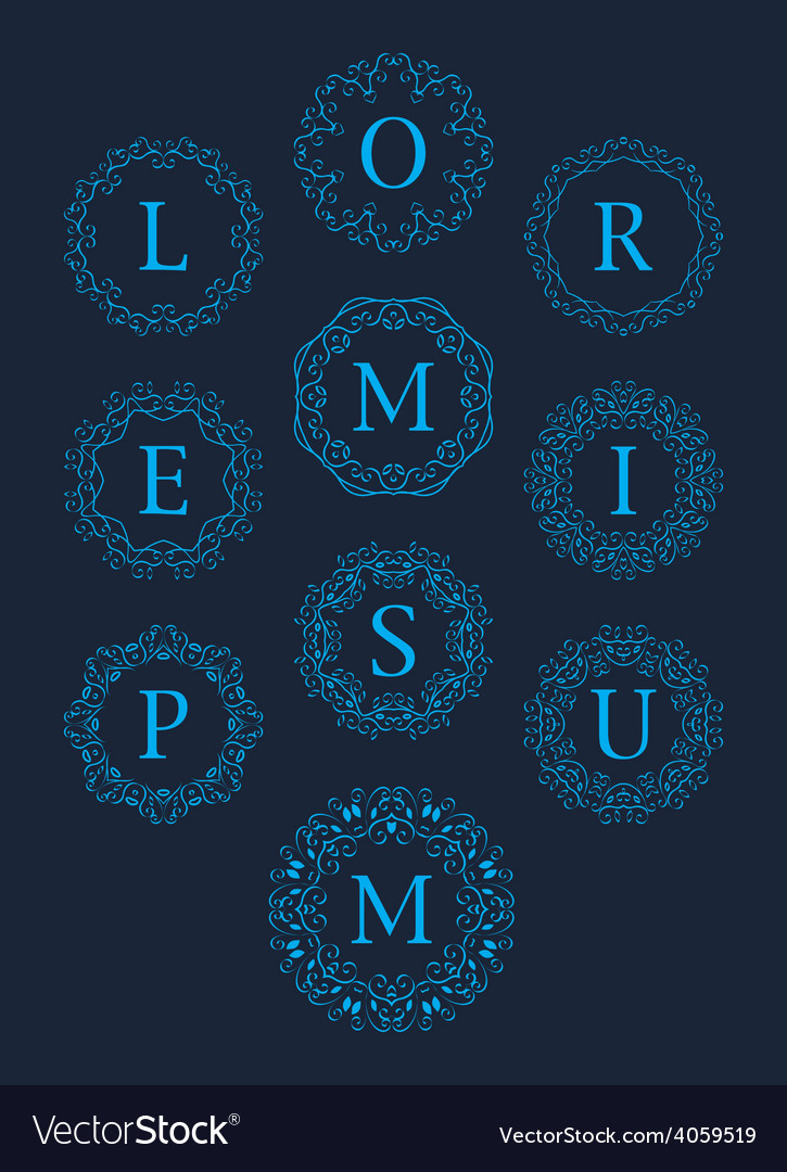 Monogram logos set graphic design vector | Price: 1 Credit (USD $1)