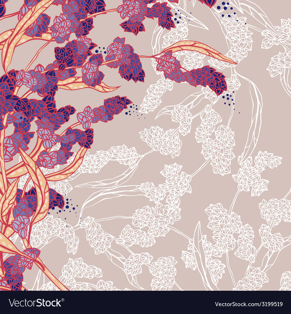 Plant branch on pink vector | Price: 1 Credit (USD $1)