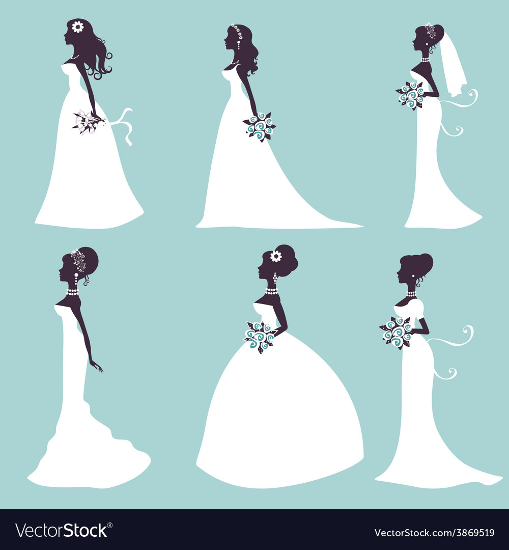 Set of elegant brides in silhouette vector | Price: 1 Credit (USD $1)