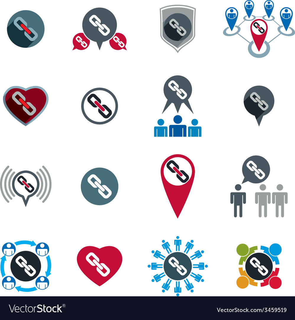 Teamwork business team and cooperation icons set vector | Price: 1 Credit (USD $1)