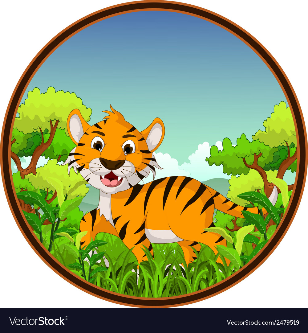 Tiger with forest background vector | Price: 1 Credit (USD $1)