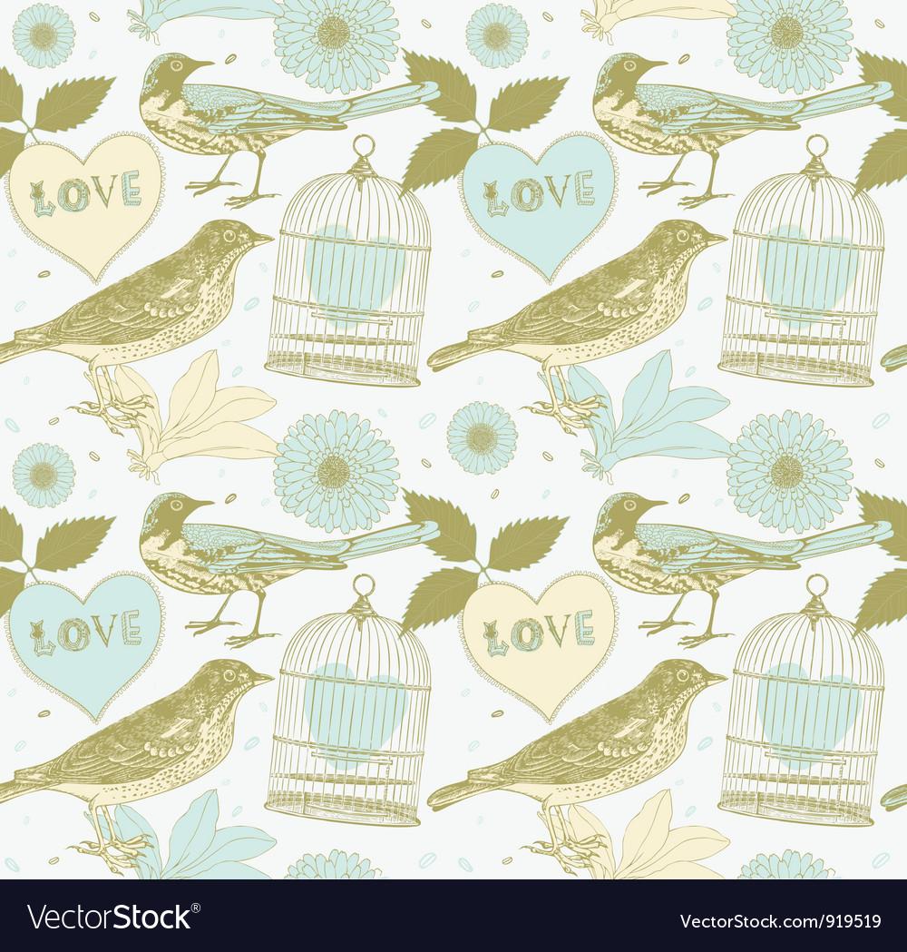Vintage birds pattern vector | Price: 1 Credit (USD $1)