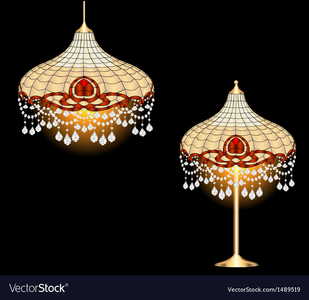 Vintage chandelier and table lamp vector | Price: 1 Credit (USD $1)