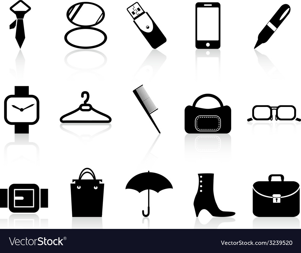 Black accessories icons set vector | Price: 1 Credit (USD $1)