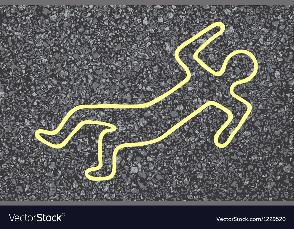 Chalk outline of a dead body vector | Price: 1 Credit (USD $1)