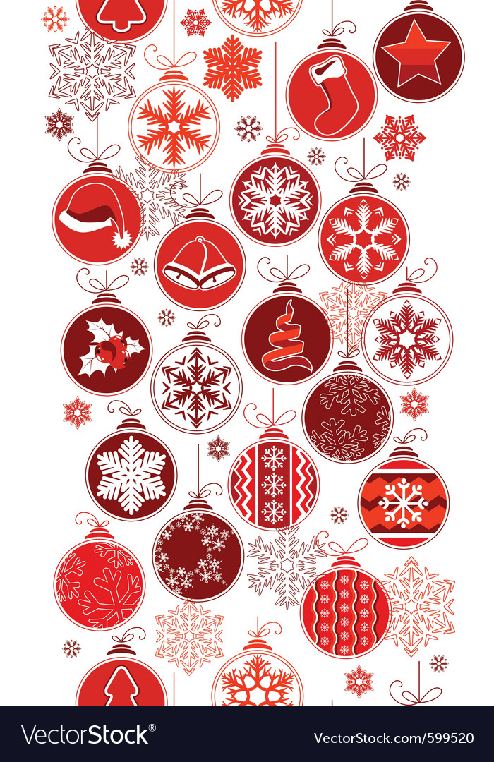 Christmas vertical seamless border with balls vector | Price: 1 Credit (USD $1)