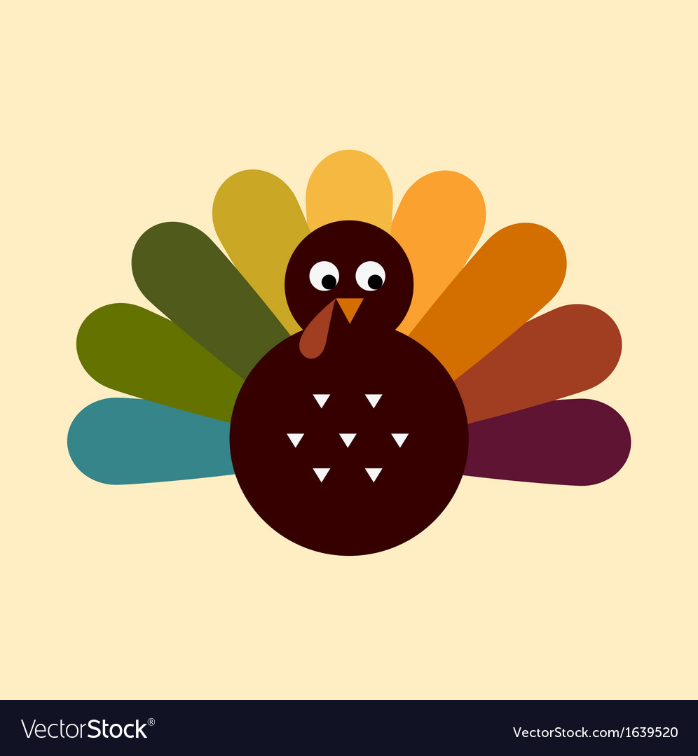 Cute retro thanksgiving turkey isolated on beige vector | Price: 1 Credit (USD $1)
