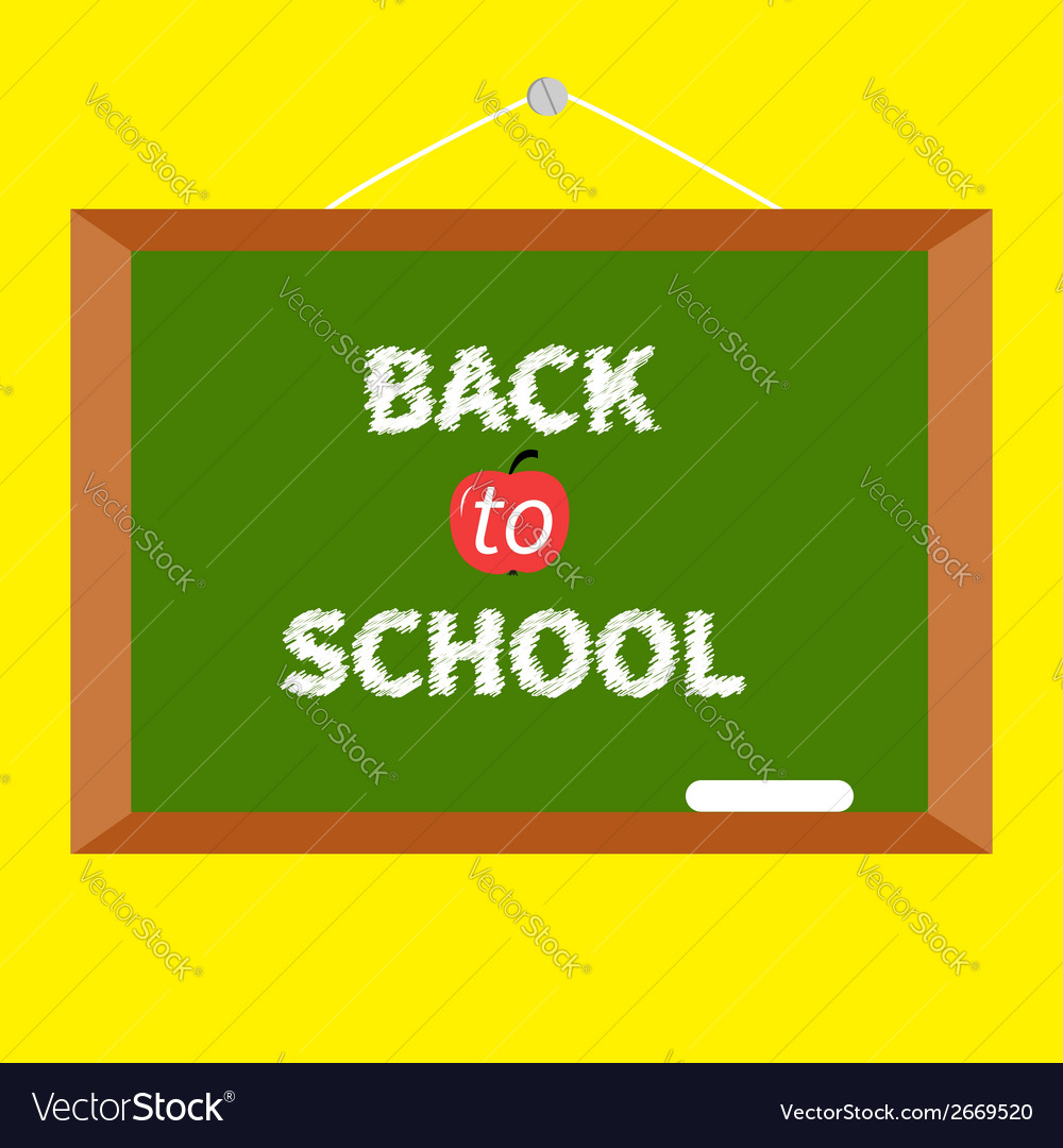 Green board with chalk on the wall back to school vector | Price: 1 Credit (USD $1)