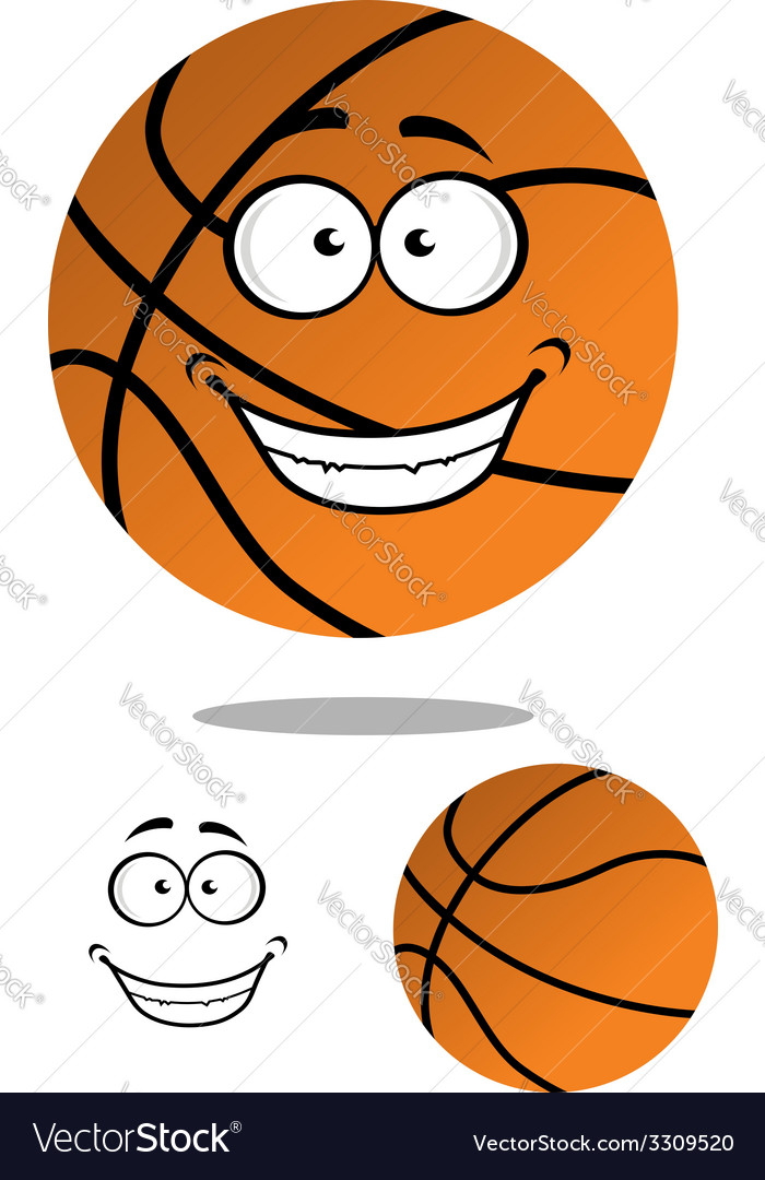 Happy smiling cartoon basketball vector | Price: 1 Credit (USD $1)