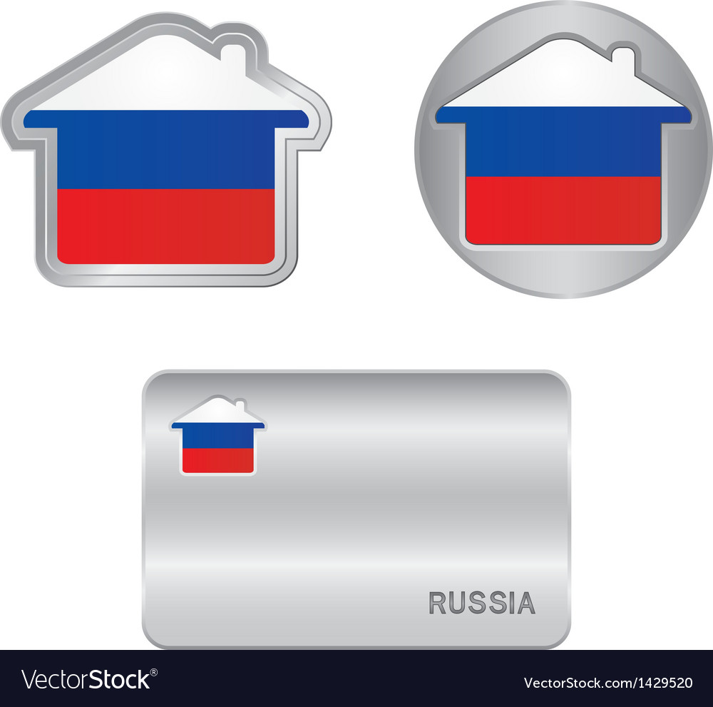 Home icon on the russia flag vector | Price: 1 Credit (USD $1)