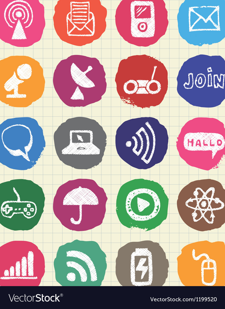 Internet media and network web icons set vector | Price: 1 Credit (USD $1)