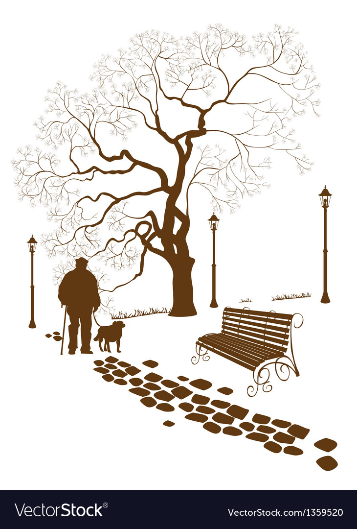 Loneliness a walk in the park man with a dog vector | Price: 3 Credit (USD $3)