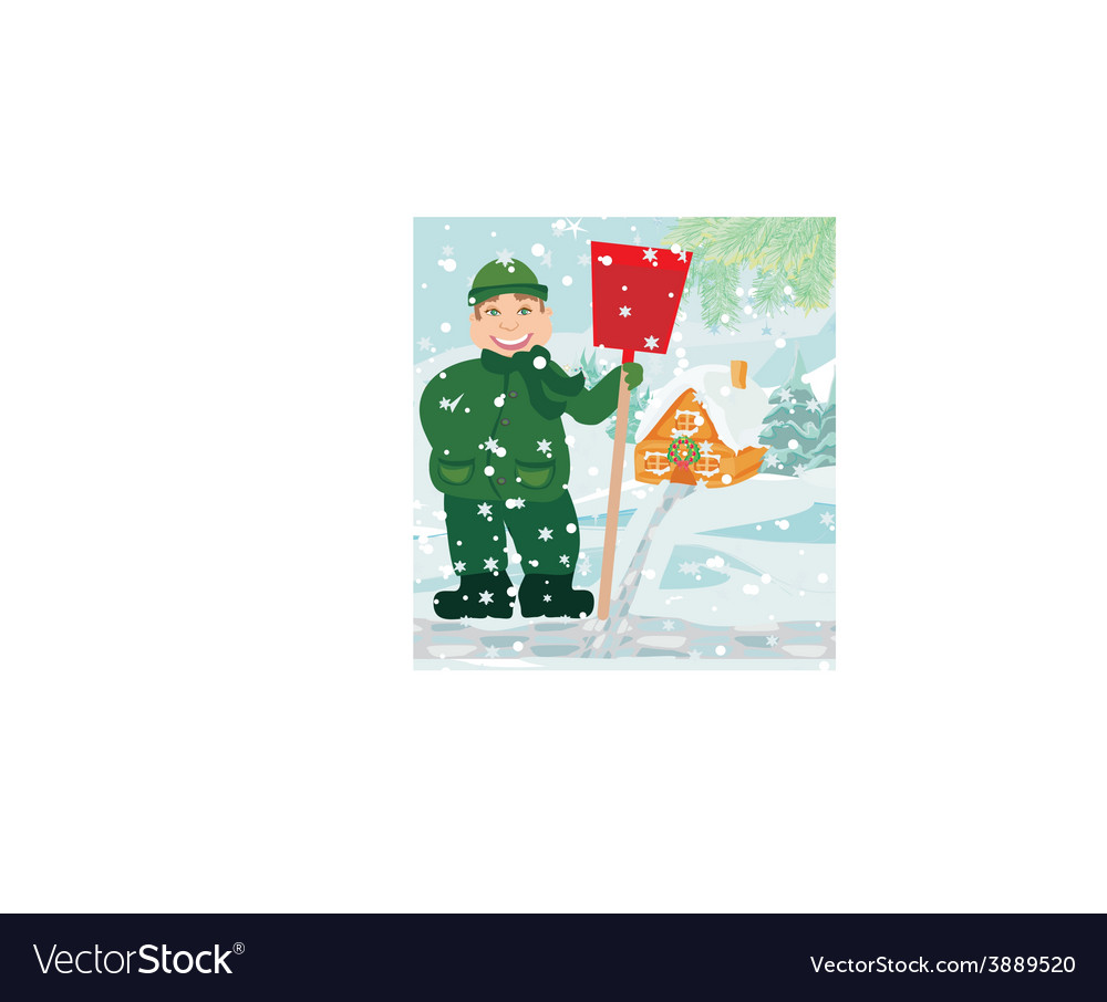 Man shoveling snow vector | Price: 1 Credit (USD $1)
