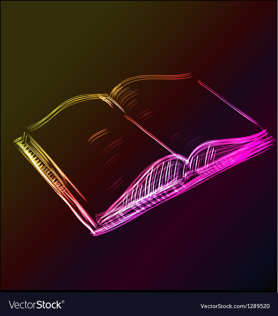Open book glowing sketch icon vector | Price: 1 Credit (USD $1)