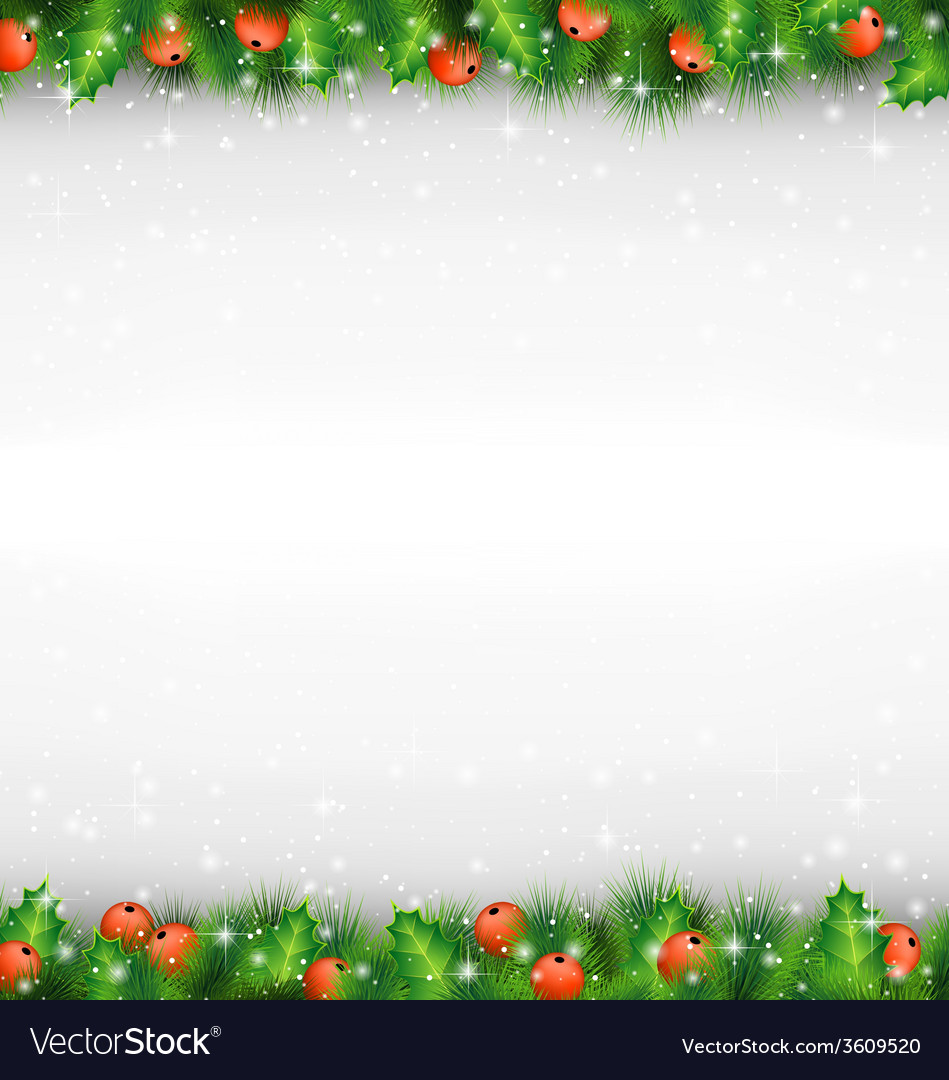 Shiny green pine branches like frame with holly vector   Price: 1 Credit (USD $1)