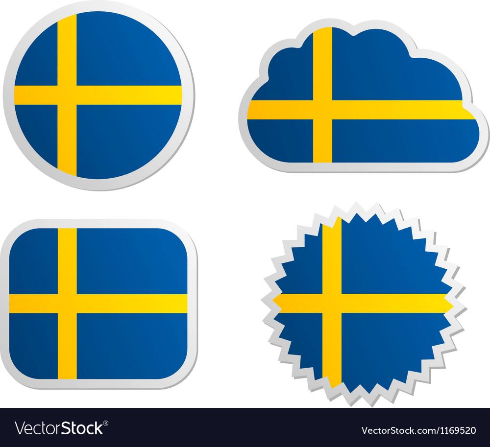 Sweden flag labels vector | Price: 1 Credit (USD $1)