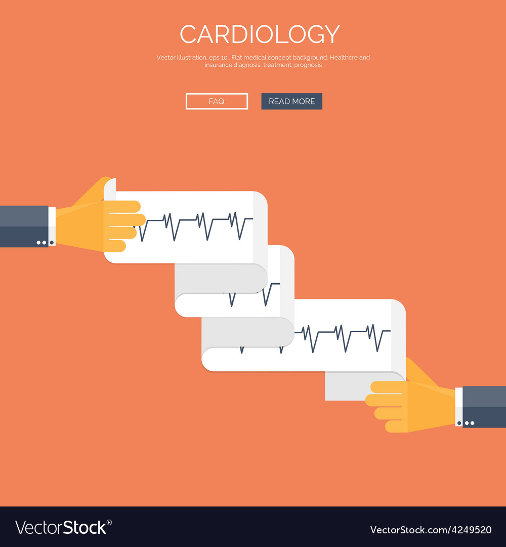 With cardiogramm flat health vector | Price: 1 Credit (USD $1)