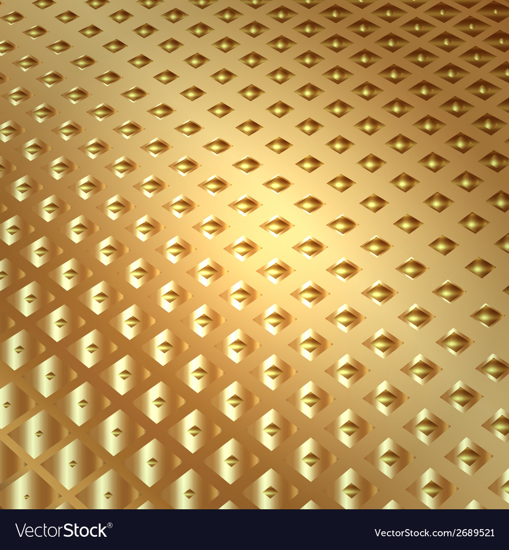 Abstract metal gold background with squares vector | Price: 1 Credit (USD $1)