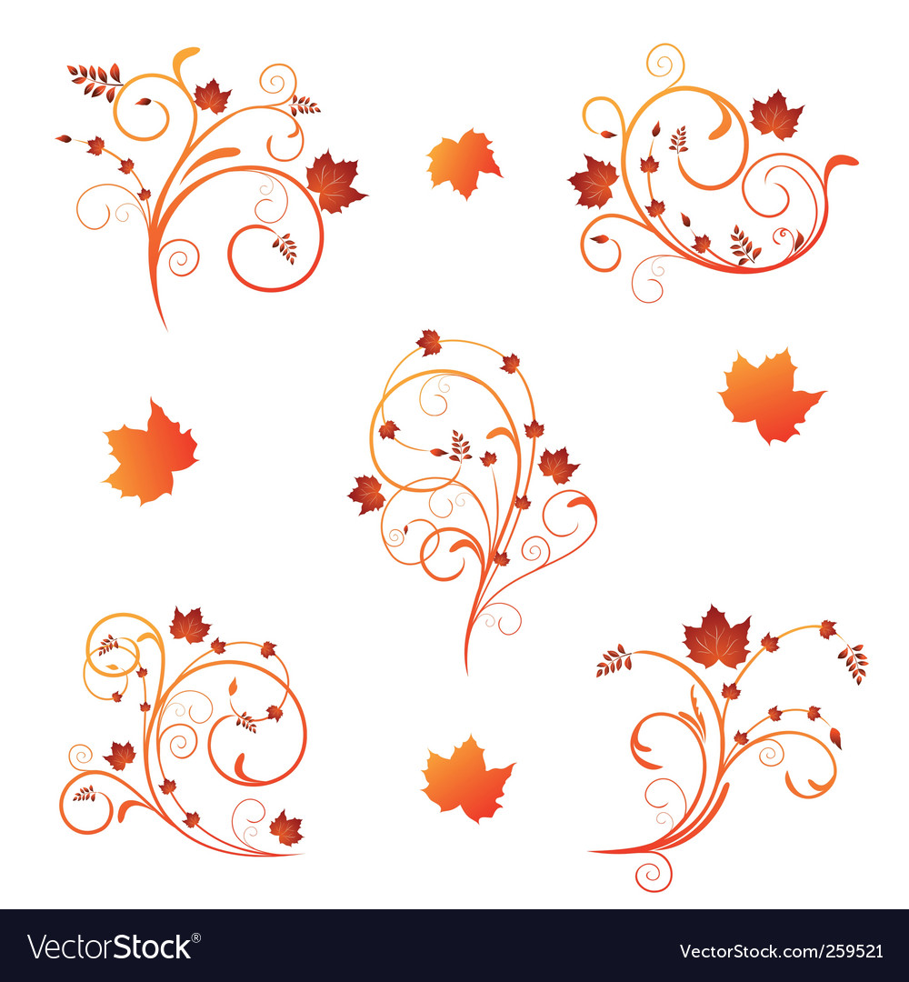Autumn floral design vector | Price: 1 Credit (USD $1)