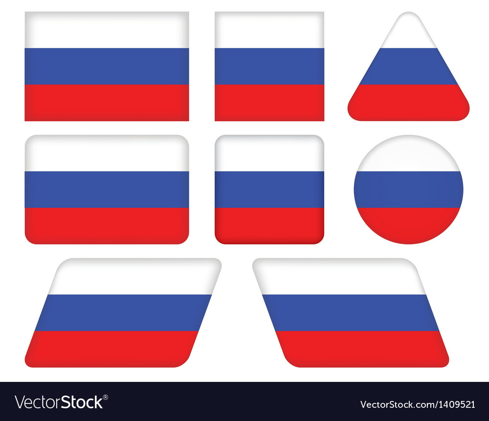 Buttons with flag of russia vector | Price: 1 Credit (USD $1)
