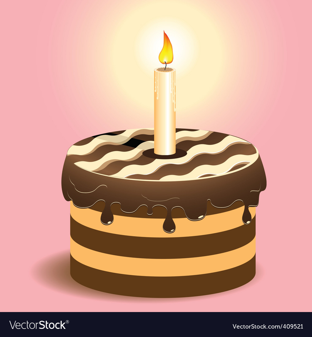 Cake and candle vector | Price: 3 Credit (USD $3)