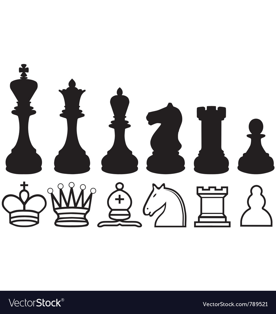 Chess piece silhouettes and symbols vector | Price: 1 Credit (USD $1)