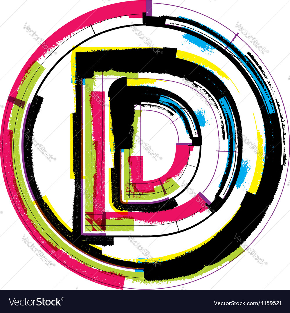 Colorful grunge font letter d vector | Price: 1 Credit (USD $1)