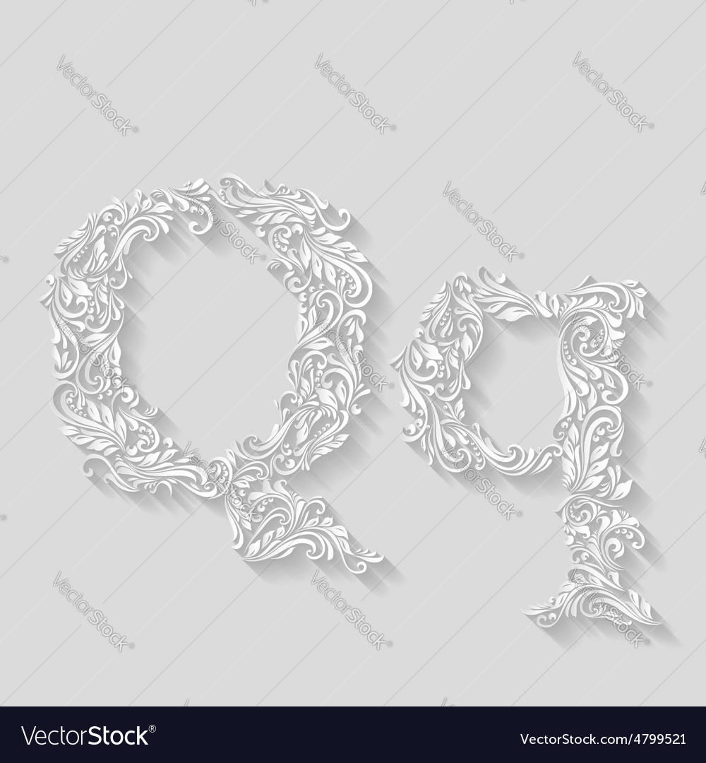 Decorated letter q vector | Price: 1 Credit (USD $1)