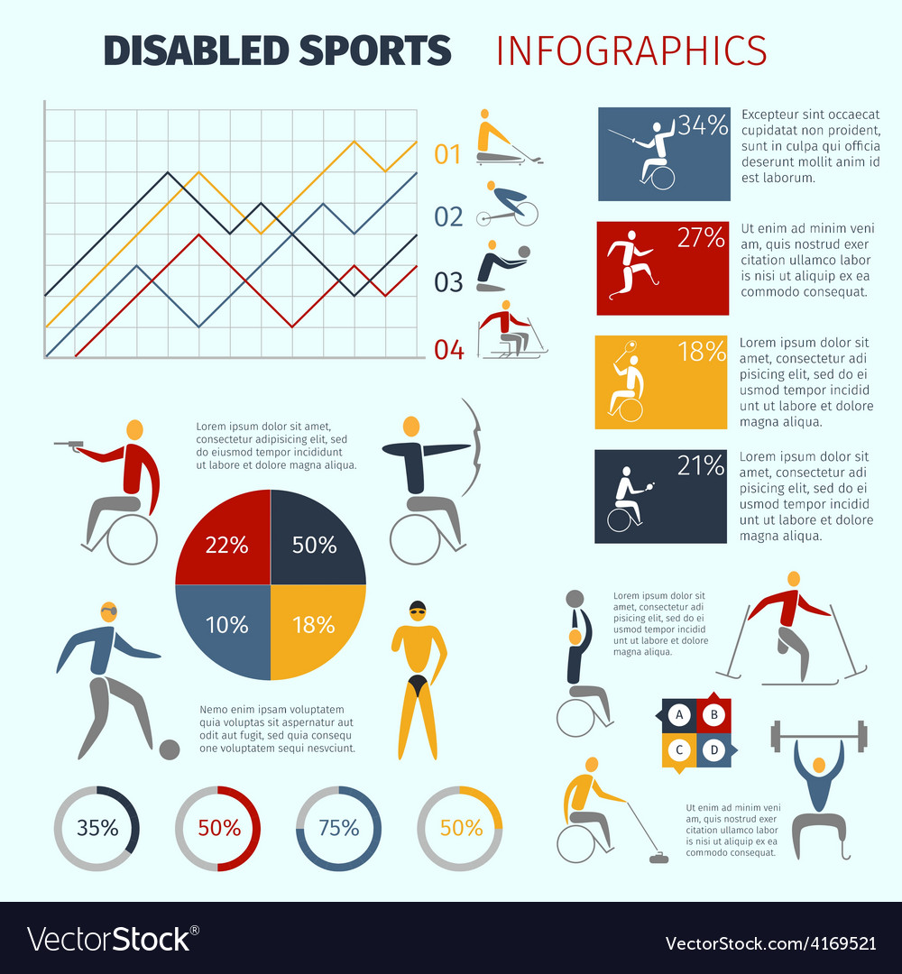 Disabled sports infographics vector | Price: 1 Credit (USD $1)