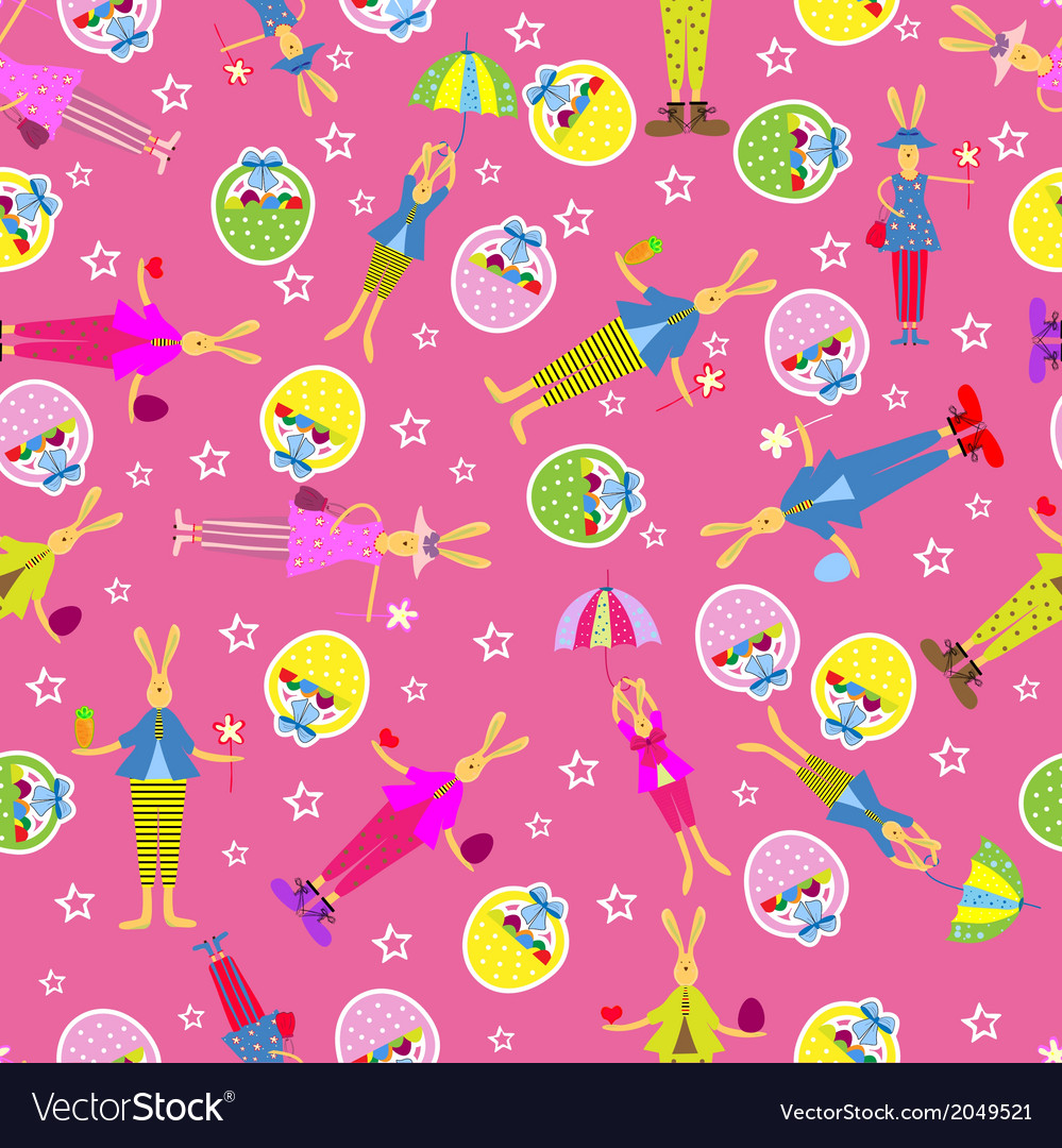 Easter bunny seamless pattern holiday background vector | Price: 1 Credit (USD $1)