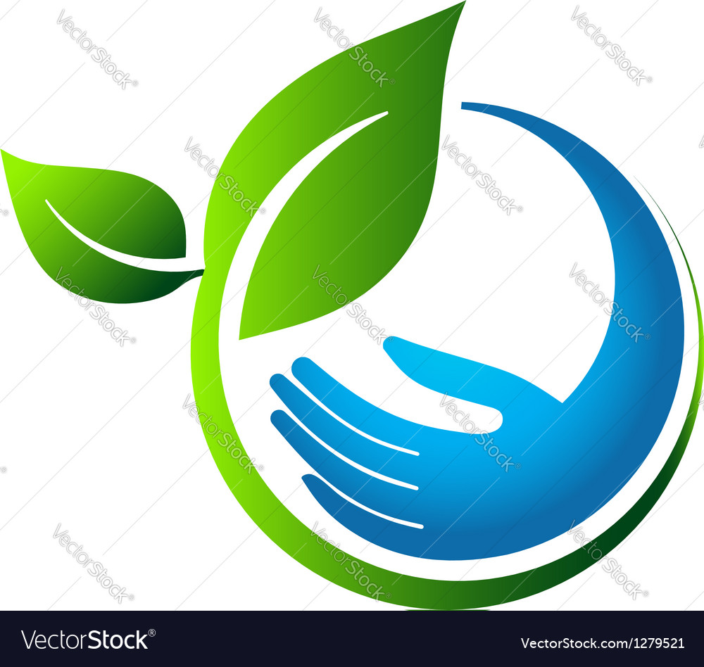 Green leaves eco hand vector | Price: 1 Credit (USD $1)
