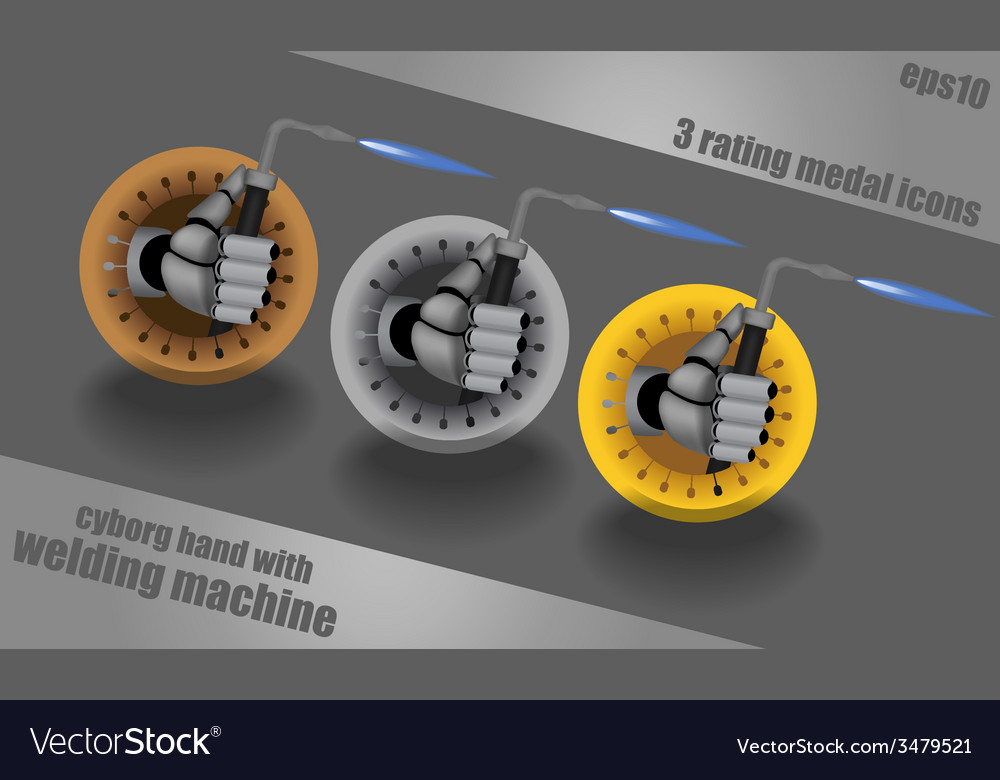 Icons with cyborg hand holding welding machine vector | Price: 1 Credit (USD $1)