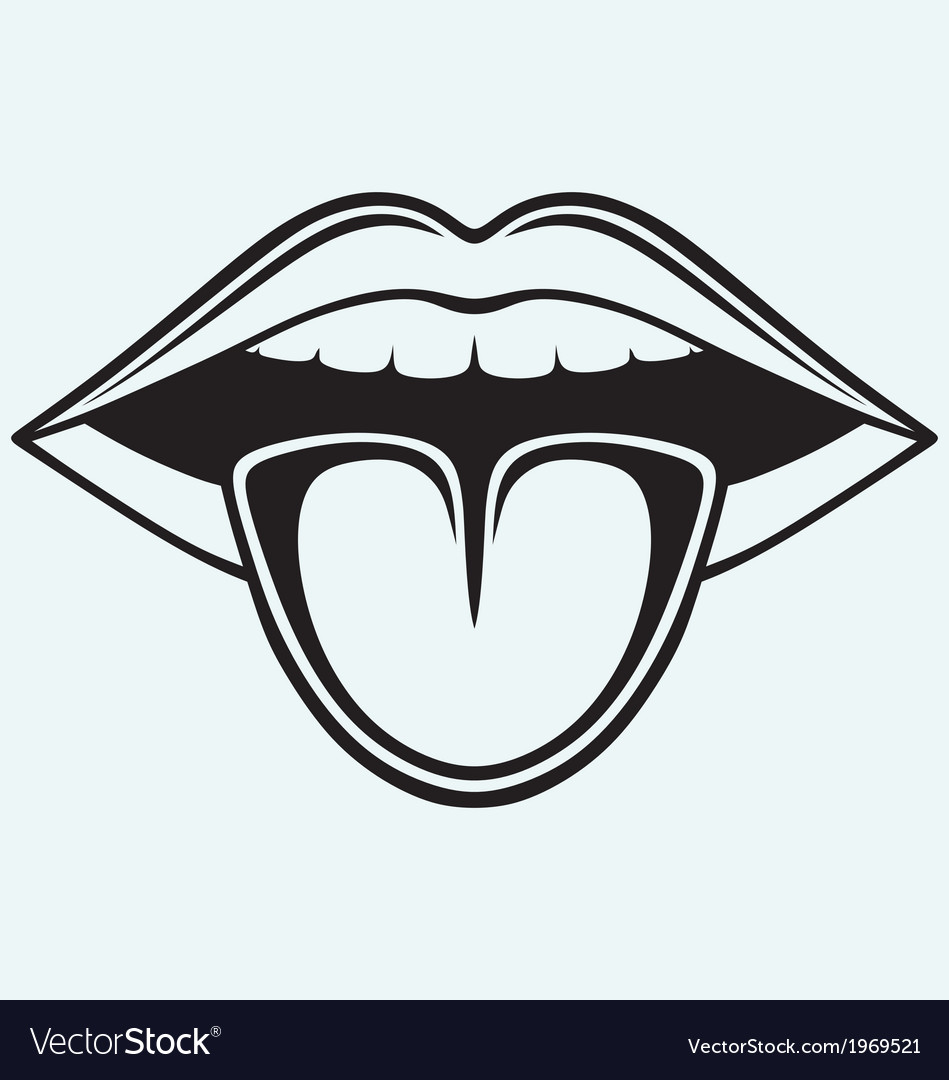 Open mouth tooth and tongue vector | Price: 1 Credit (USD $1)