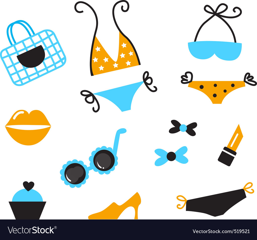 Retro bikini icons vector | Price: 1 Credit (USD $1)