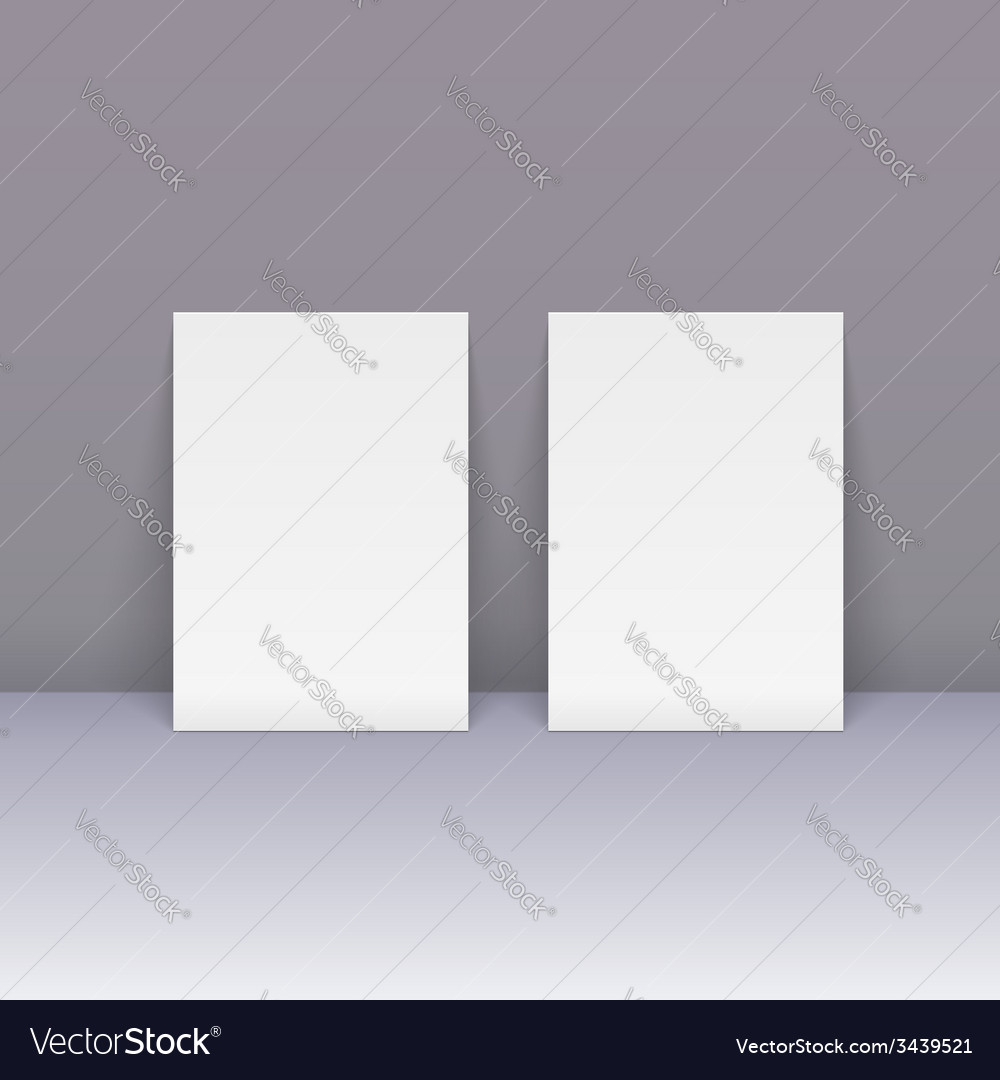 Sheets of blank paper beside the wall vector | Price: 1 Credit (USD $1)